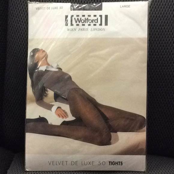 5aa5df635d5 Wolford Velvet De Luxe 50 Tights Large Black NWT